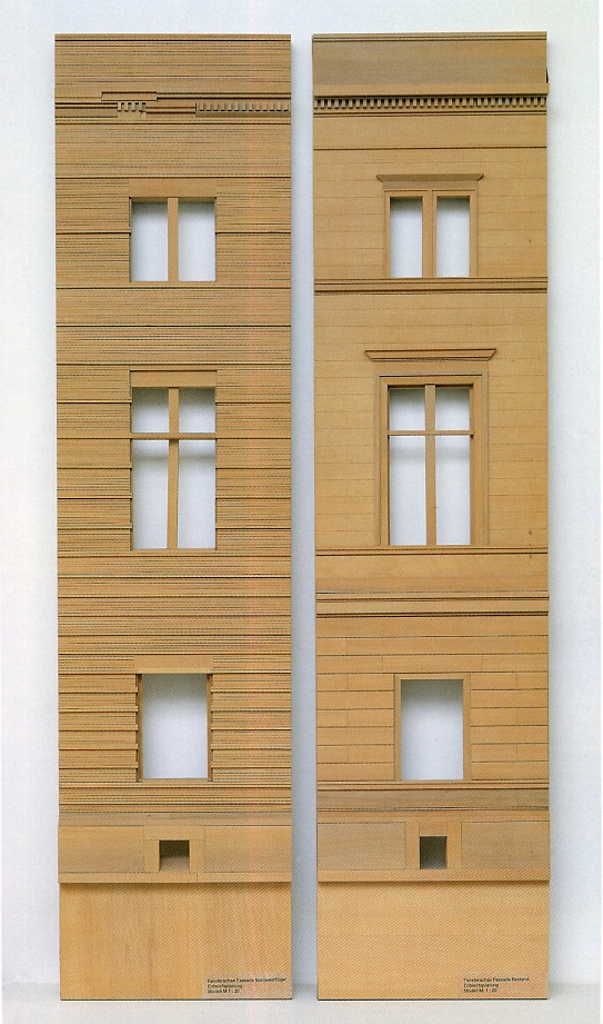 Models showing the existing facade (designed by Auguste Stuler) and the new facade (designed by David Chipperfield) of the Neues Museum in Berlin.