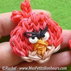 Angry Birds Rainbow Loom - photo and video tutorial by Rachel
