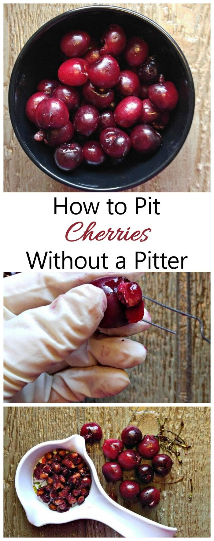 To pit cherries without a cherry pitter needs just one simple office supply - a large paper clip!