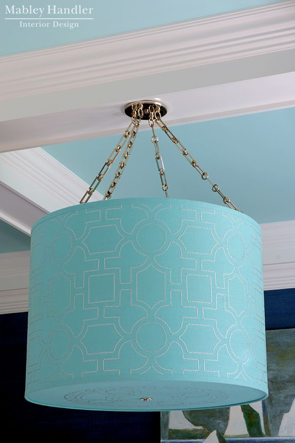 Michelle Hatch New York for Bone Simple Design: Nailhead Drum Shade Light Fixture - Mabley Handler Beach House Dining Room at the 2012 Hampton Designer Showhouse