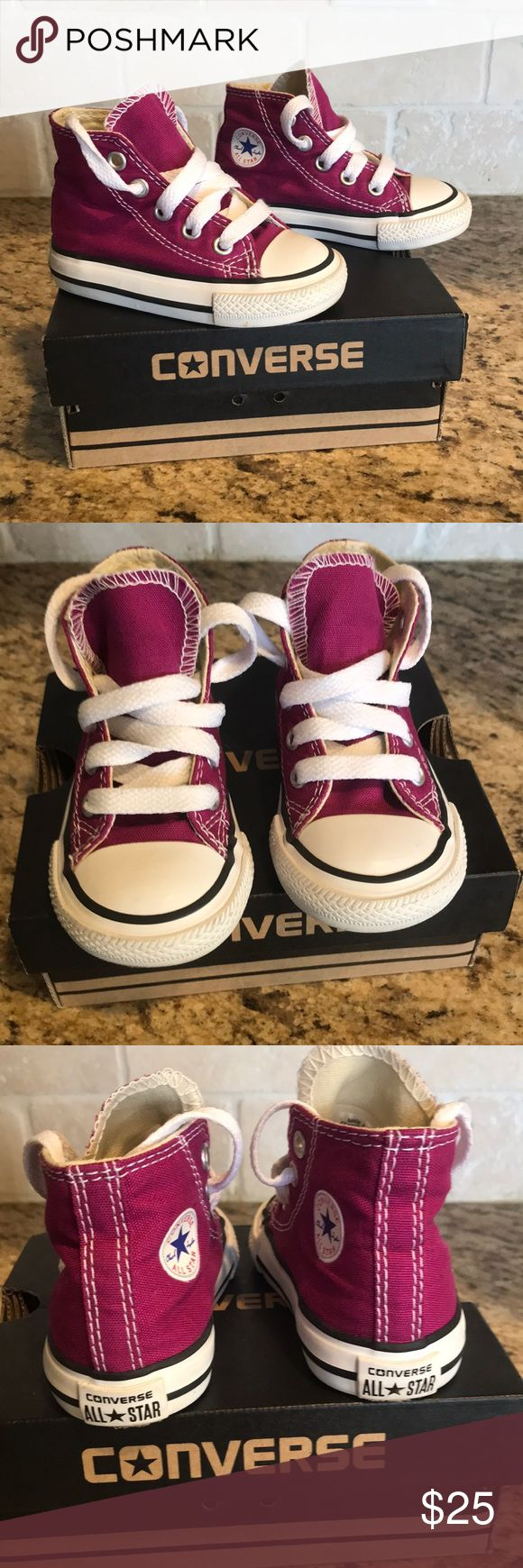 Like NEW! Toddler Converse Excellent condition. Like new! Only worn for a few hours. Pretty purple converse chuck Taylor's. High top. No trades. Bundle for discount. Converse Shoes