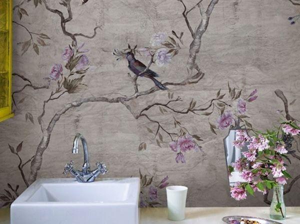 Descarga el catálogo y solicita al fabricante Hanamachi by Wall&decò, papel pintado de flores para baños diseño Eva Germani, colección Wet System ™ 13