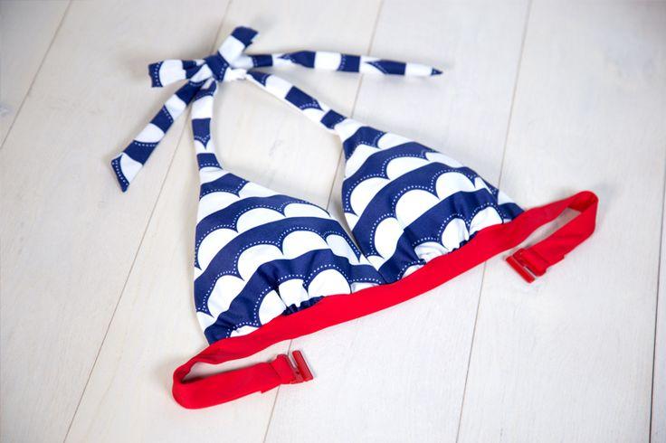 Bademode für Schwangere: Umstandstankini nähen + Neckholder Bikini und passende Strandtasche im maritimen Look mit Anker und Papierboot