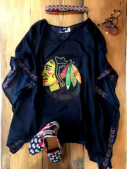 Need an outfit for Lollapalooza? Stop by the #Blackhawks Store today! Caftan ($35), Sweaty Bands Headband ($18), Rose Gonzales ($30) and Canvas Shoes ($30)