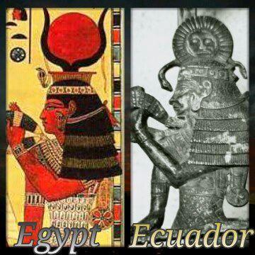 """Figura da deusa Hathor encontrada em """"Cueva de los Tayos"""", do Equador e da figura egípcia. Mais que uma coincidência."""