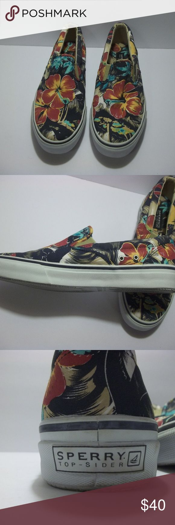 Sperry Top-Sider mens size 10.5M Loud Floral Logo Pre-owned mens Sperry top-siders  with red and teal flowers in excellent condition maybe only worn once! Sperry Shoes Loafers & Slip-Ons