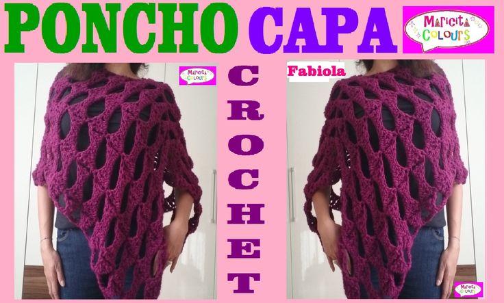 "Poncho Rectangular Capa a Crochet ""Fabiola"" por Maricita Colours"