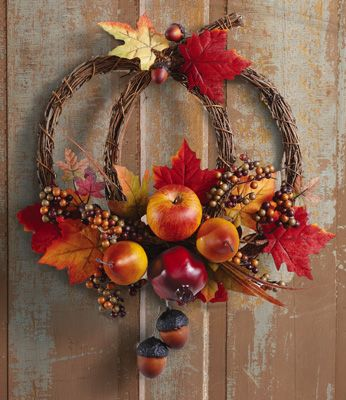 Harvest Welcome Pumpkin Floral Door Wreath