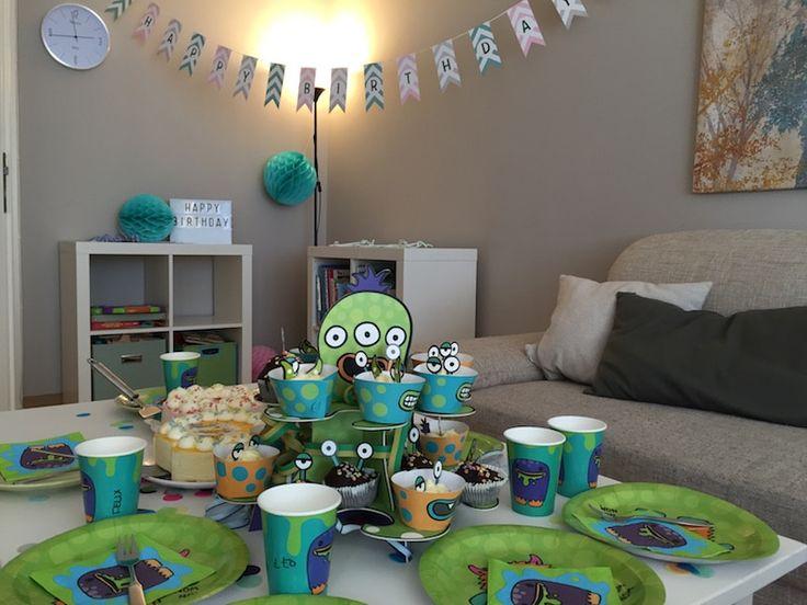 Grüne Monster-Deko für den Monster-Geburtstag. Perfekt für Kinder und junggebliebene Erwachsene. ;) Mehr Infos auf https://mamaskind.de