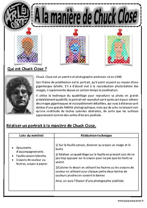 Chuck Shut – Portraits – Ce1 – Ce2 – Cm1 – Cm2 – Arts visuels – Cycle 3