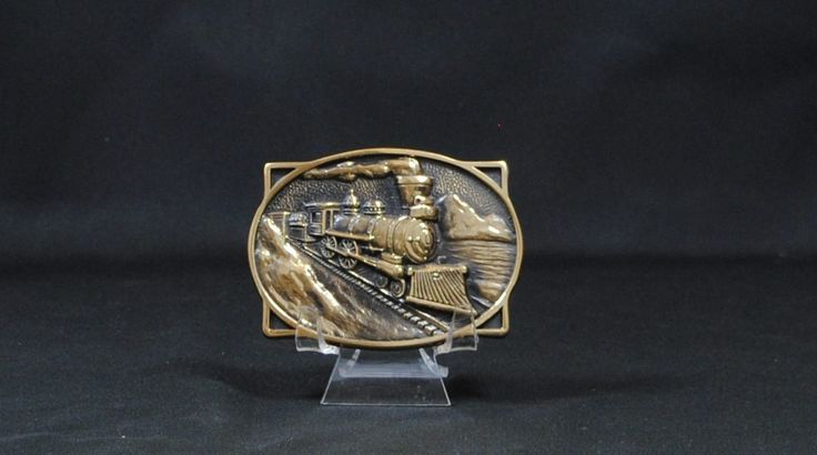 Vintage Solid Brass Steam Train Engine Belt Buckle, BTS USA, Locomotive, Train Tracks, Mountains, Frontier, Western, Made In USA by winterparkcollect on Etsy