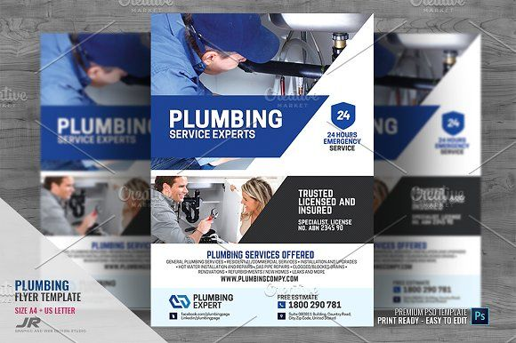 Plumbing Service Company Flyer Plumbing Plumbing Emergency Flyer