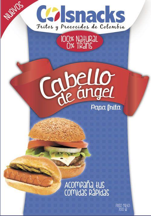Diseño gráfico de empaque para producto de Snacks. Marca Colsnacks. Cabello de ángel