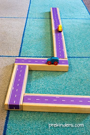 DIY roads in the block center using play tape!