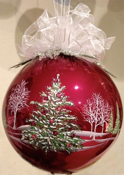 "ON A BLUE WINE GLASS 5"" Hand painted burgundy glass ornament with quality Swarovski crystals by Mickey Baxter-Spade."