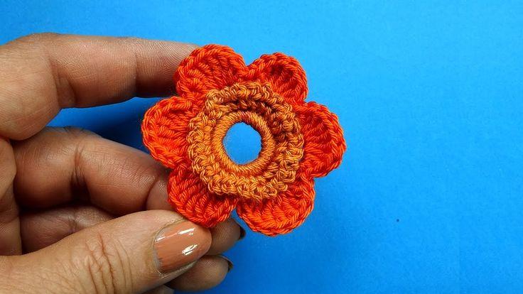Вязаный цветок на бурдоне Crochet flower pattern 83
