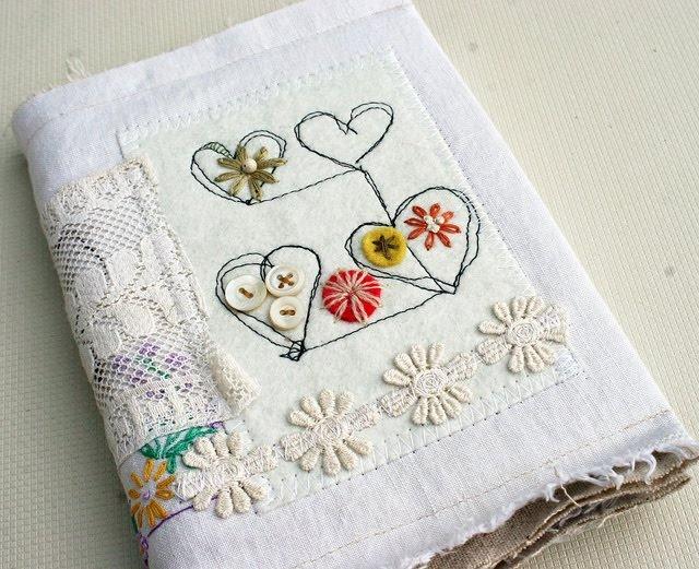 fabric journal: Books Covers,  Hankey, Rebecca Sower, Art Journals, Altered Books, Fabrics Books, Fabrics Journals, Vintage Linens, Linens Journals