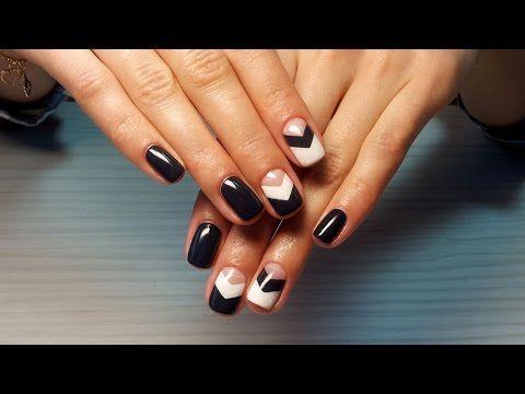 Дизайн ногтей гель-лак Shellac - Обратный френч, французский маникюр (уроки дизайна ногтей) - YouTube