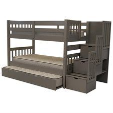 Stairway Bunk Bed Twin over Twin in Gray with 3 Drawers Built in to the Steps and a Twin Trundle
