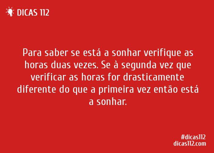 Dica sobre Saber se está a sonhar ou ainda acordado via Dicas112.