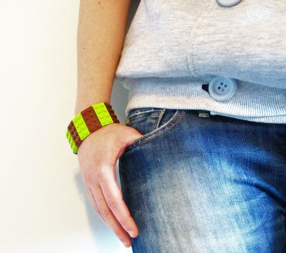 Bracelet made with LEGO® Bricks Lime Brown 2x4 plate LEGO® Jewelry Autumn Gift LEGO® Fashion Modern gift for her Unique Bracelet Elastic