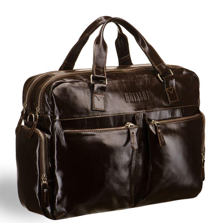 """Сумка для командировок BRIALDI Dayton (Дейтон) shiny brown     Вместительная и красивая модель. Элегантная, лаконичная, практичная. На лицевой стороне, два кармана на """"молнии"""" для самого необходимого. На боковых сторонах – по карману на молнии. Отличная, ласкающая руки кожа, стильная, из сатинированного металла фурнитура. Помимо удобных верхних ручек, Вы можете использовать плечевой ремень с двумя карабинами-застежками, который прилагается к сумке. Внизу сумки расположены изящные…"""