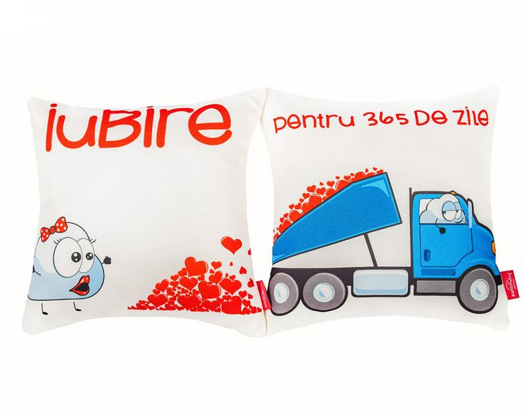 """Iubire pentru 365 de zile"" Pair-Pillows #valentines #valentinesday #dragobete #love #boy and #girl #home #cosy #comfort #cute #characters #gift #couple #interiordeco #design"