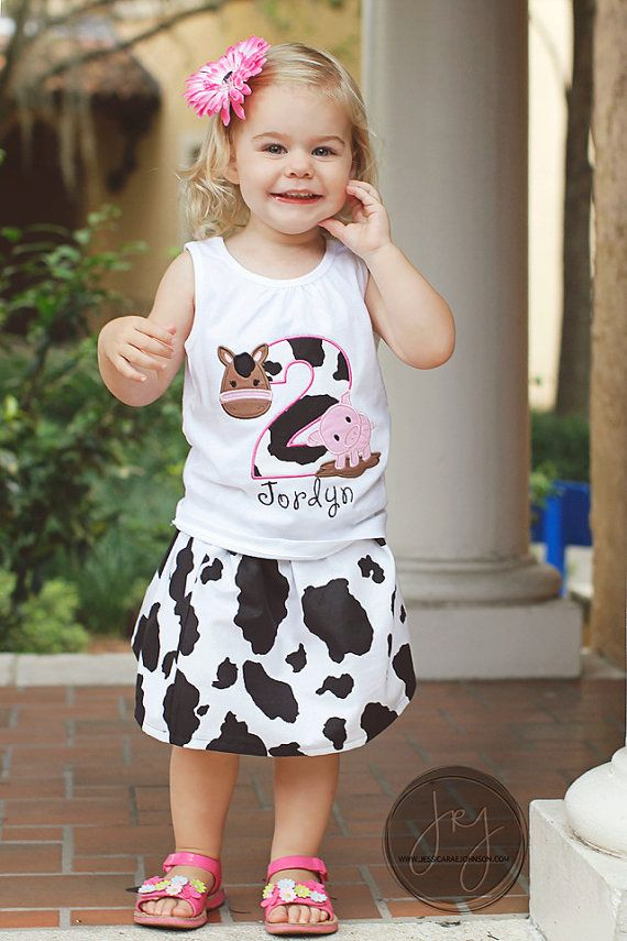 Cowgirl Farm Birthday Shirt w/ Skirt Option by RileyReigh on Etsy, $26.00