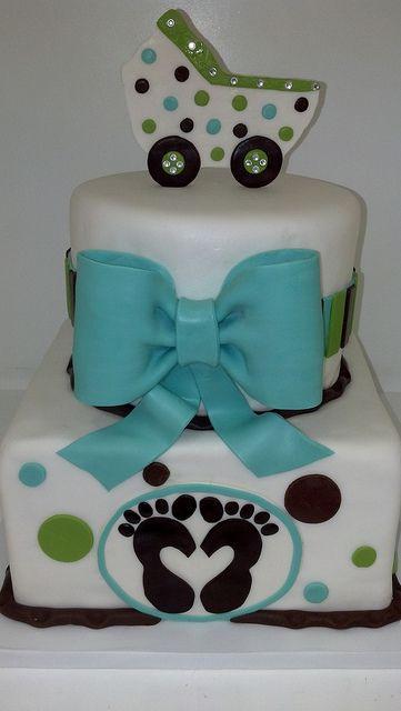 Chic baby shower cake