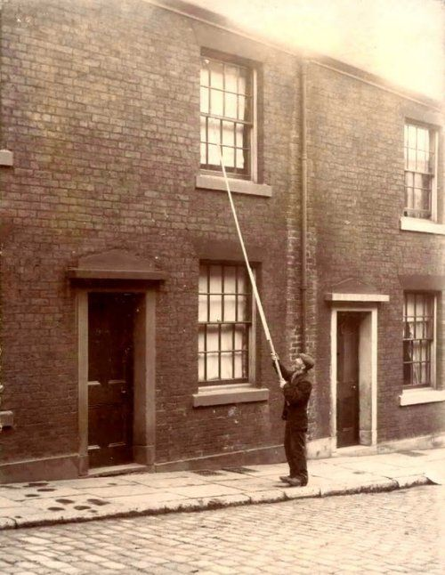 A Knocker-upwas a profession in England and Ireland that started during and lasted well into the Industrial Revolution and at least as late as the 1920s, before alarm clocks were affordable or reliable. A knocker-up's job was to rouse sleeping people so they could get to work on time.