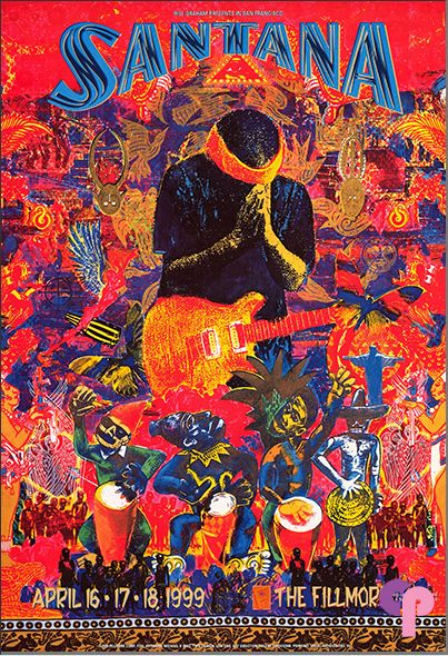 ☯☮ॐ American Hippie Psychedelic Art ~ 1999,   Santana, The Fillmore Auditorium, San Francisco, CA.