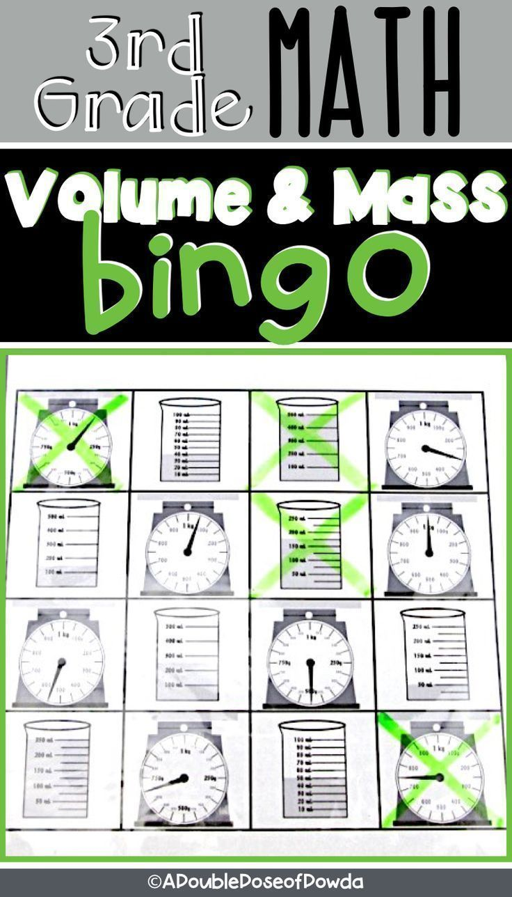 Volume \u0026 Mass BINGO This metric measurement game includes 30 student BINGO  cards (each with a 4x…   Elementary math games [ 1288 x 736 Pixel ]