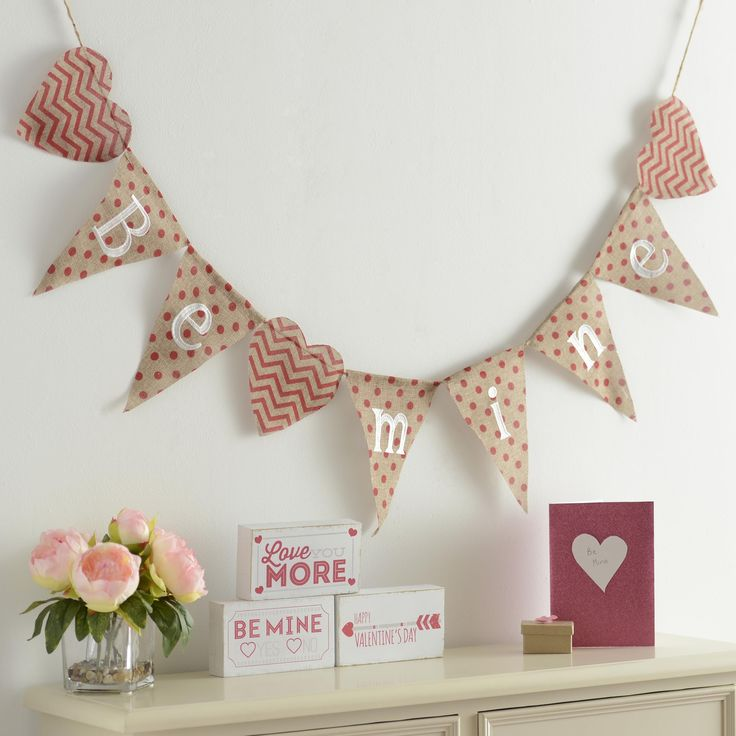 Be Mine this Valentine's Day! Add some love to your home with our cheery and bright Be Mine Burlap Pennant Banner, making your favorite holiday a little sweeter.