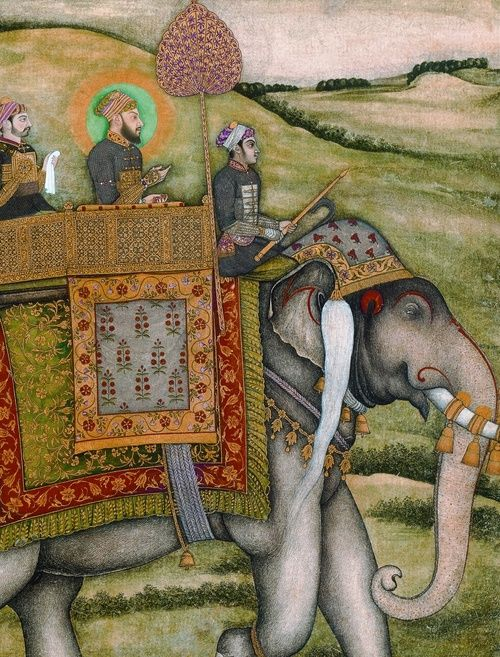 Bahadur Shah I (1643-1712) (?) on an Elephant (detail of a page from an unknown manuscript), 17th century. Opaque watercolour, 29.6 x 24 cm. Bibliothèque nationale de France, Paris.