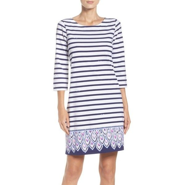 Women's Lilly Pulitzer Bay Sheath Dress ($108) ❤ liked on Polyvore featuring dresses, bright navy, navy striped dress, navy blue dress, navy dress, bright colored dresses and navy stripe dress