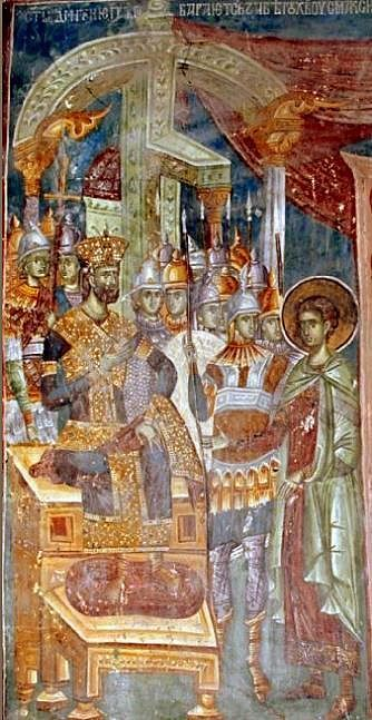 St. Demetrios before Emperor Maximian, Patriarchate of Pec, 14. century http://srpskoblago.org/Archives/Pec/exhibits/StDemetriosChurch/Nave/UndertheDome/NorthWall/282N1798.html