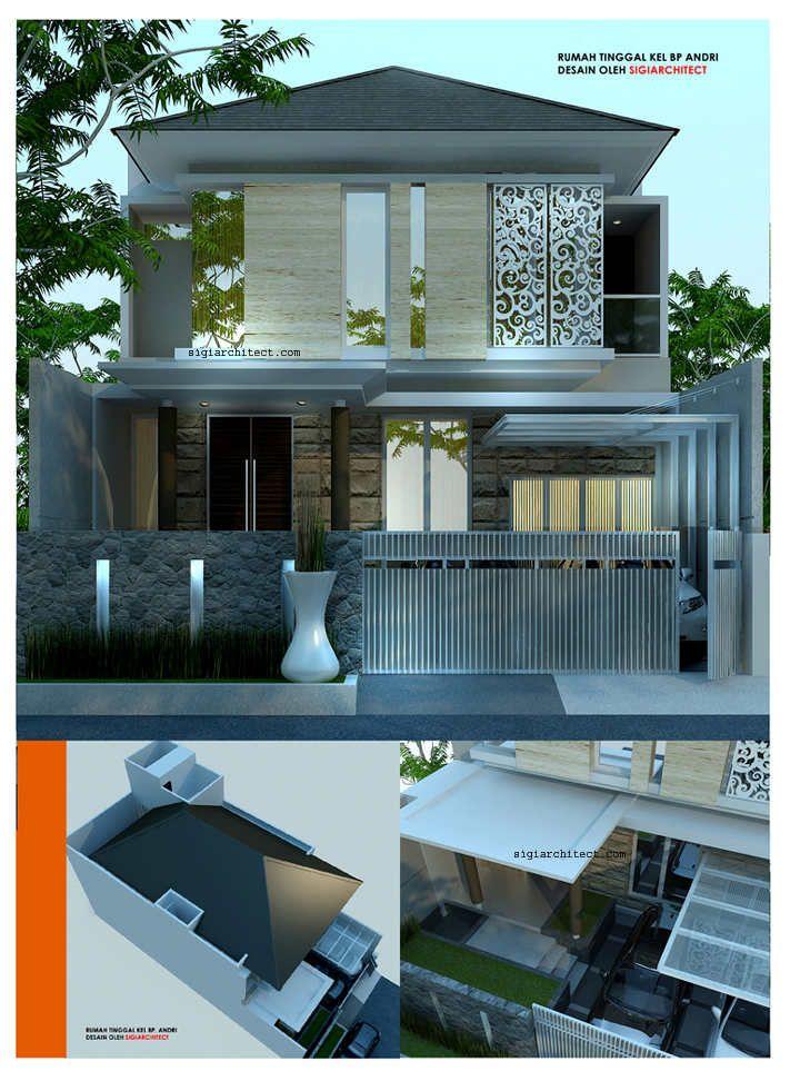 Desain Rumah Modern Minimalis 2 lantai di Bandung-Jabar, lahan 10X20M, tropis modern dengan aksen batu alam dan devider jendela lantai 2 metal curving