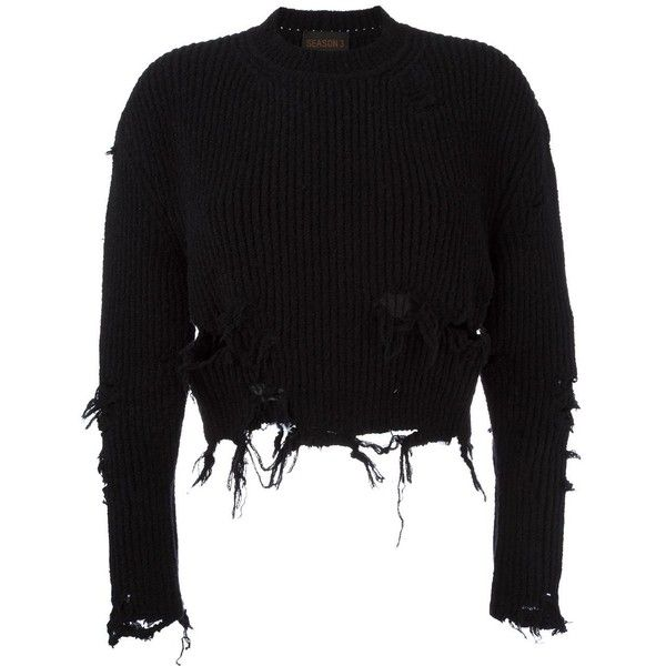 Yeezy Season 3 destroyed crop boucle sweatshirt (£575) ❤ liked on Polyvore featuring tops, hoodies, sweatshirts, sweaters, black, ripped sweatshirt, destroyed sweatshirt, cropped sweatshirt, ripped tops and crop top