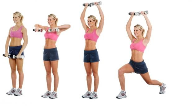 Row, press and lunge - back and thighs