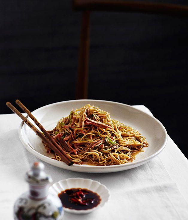 Char siu pork with egg noodles (keong chung cha siu lo mein)