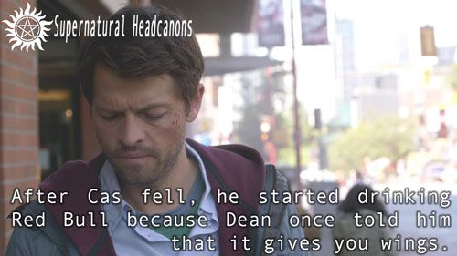 After Cas fell, he started drinking Red Bull because Dean once told him that it gives you wings.