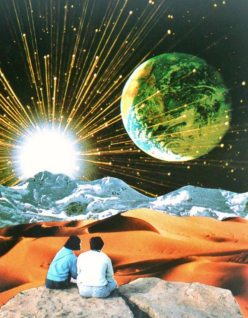 Another Earth by Djuno Tomsni - French artist Djuno Tomsni imagines the perfect summer vacation in outer space with his hand-made collages from vintage holiday brochures and photo albums.