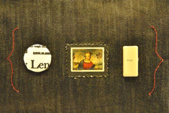 Textile blue jeans shoulder pochette purse clutch di comivishop   €35,00