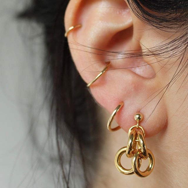 The Mercer Earrings worn with an Un Gold Hoop  13% off with promo code: thirteen