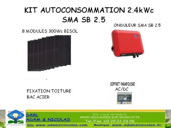 - Kit photovoltaique auto-consommation 2.4kWc Vente en ligne panneaux solaires Vosges - kits photovoltaïques - Installer Panneau Materiel Solaire