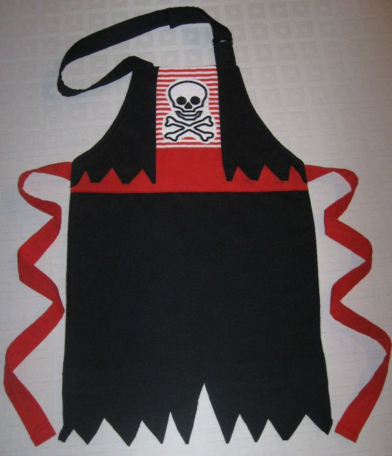 Boy PIRATE APRON COSTUME  / Art Apron - Costume Dress up - Jolly Roger