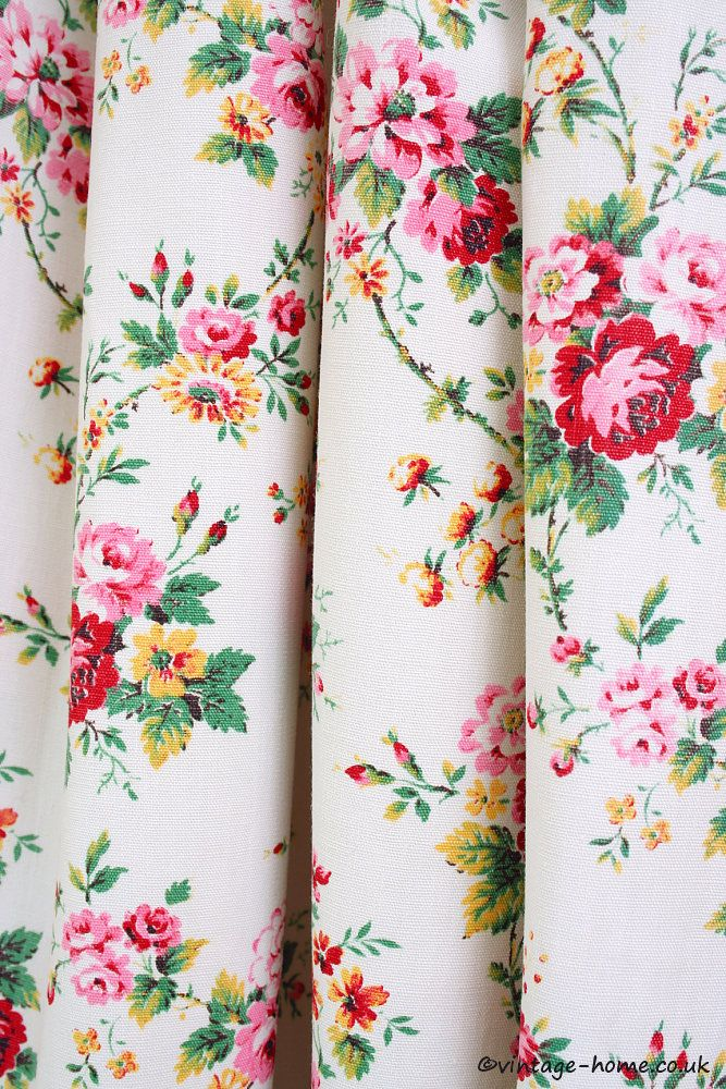 Vintage Home Shop - Pretty 1940s French Romanex Floral Fabric: www.vintage-home.co.uk