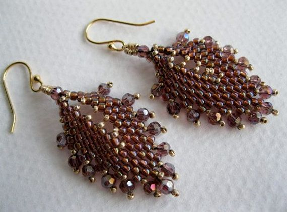 Amethyst sparkle Russian leaves peyote stitch by BeadALittleDream, $20.00