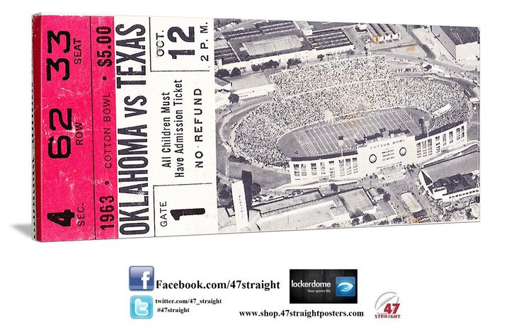 1963 OU vs. Texas football ticket art on canvas. Father's Day Gift Ideas made from 2,000 historic college football tickets. Unique Father's Day gifts for sports fans. Come check out our YouTube Channel! http://www.youtube.com/user/47STRAIGHTLLC?feature=watch Texas Longhorns gifts. OU Sooners gifts. 47 STRAIGHT.™