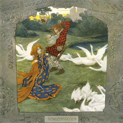 The Goose Girl' by the Brothers Grimm, illustrated by Heinrich Lefler. Part of a fairy tale calender published 1905 by Berger & Wirth, Leipzig. Source